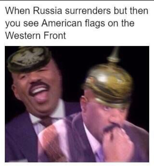 meme about the Russia withdrawing from WWI and the US coming in