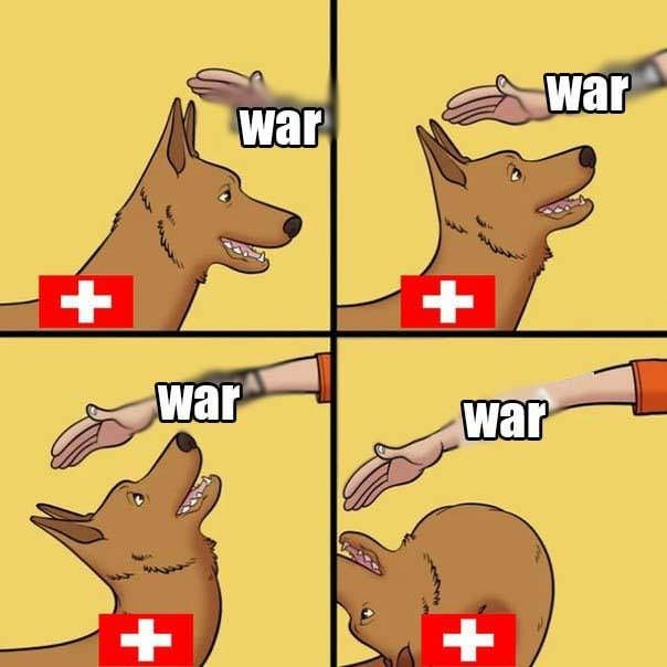 meme about Switzerland trying to stay neutral and not get into war