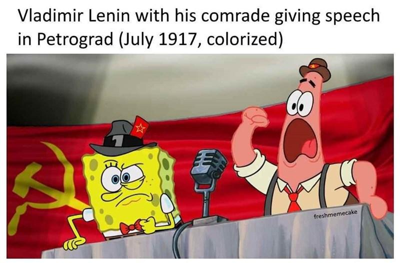 fake history meme with Lenin as Patrick and Spongebob