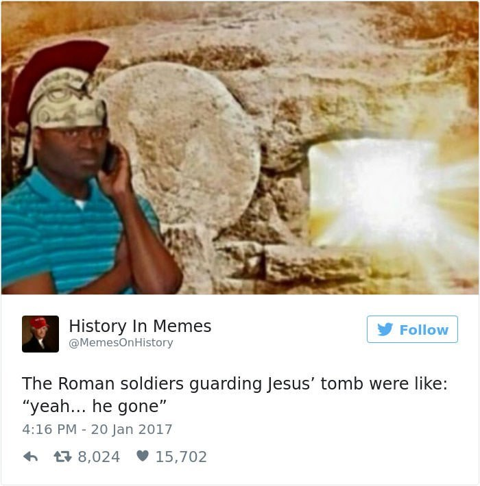 black guy on phone meme as the soldiers guarding Jesus' tomb