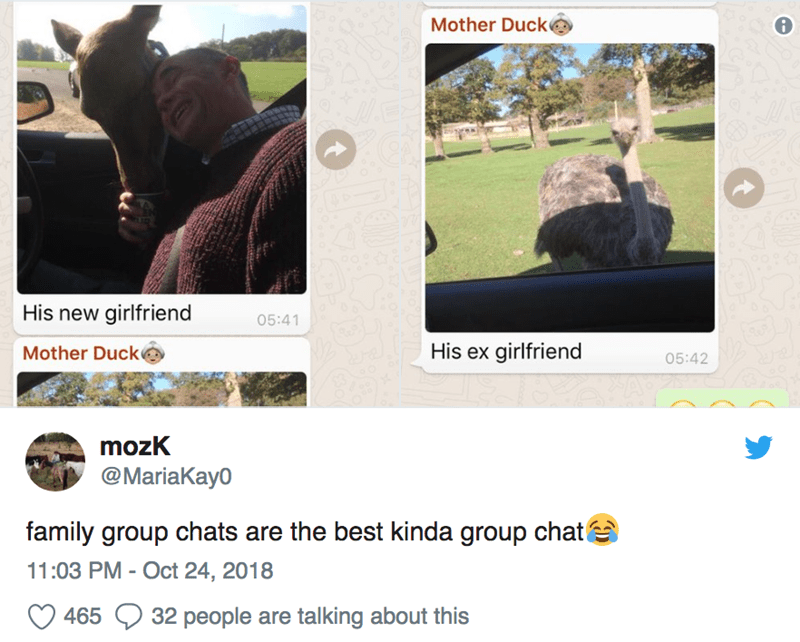 Tree - Mother Duck His new girlfriend 05:41 His ex girlfriend Mother Duck 05:42 mozK @MariaKay0 family group chats are the best kinda group chata 11:03 PM - Oct 24, 2018 32 people are talking about this 465