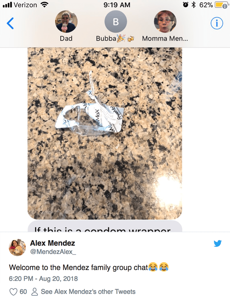 Text - 62% ll Verizon 9:19 AM В i Bubba Momma Men... Dad If +hio in n oandom ronnor Alex Mendez @MendezAlex_ Welcome to the Mendez family group chat 6:20 PM - Aug 20, 2018 See Alex Mendez's other Tweets 60