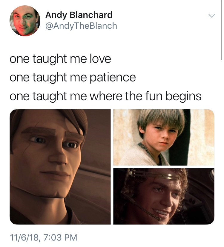 thank you, next meme about anakin skywalker by: @AndyTheBlanch