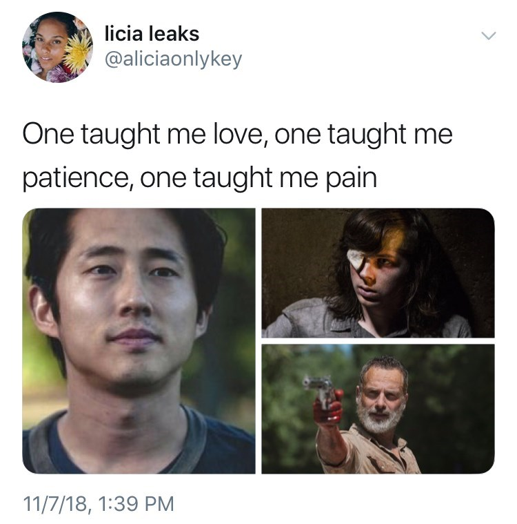 thank you, next meme about Carl grimes, rick grimes and glen Rhee from the walking dead. by: @aliciaonlykey
