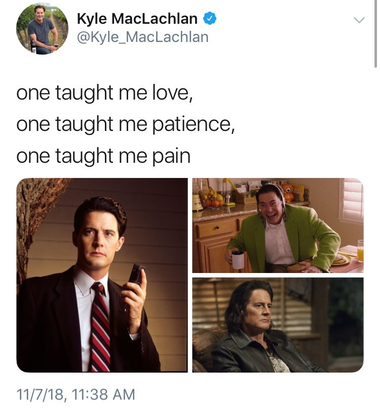 thank you, next meme about Kyle Maclachlan in twin peaks by: @Kyle_MacLachlan