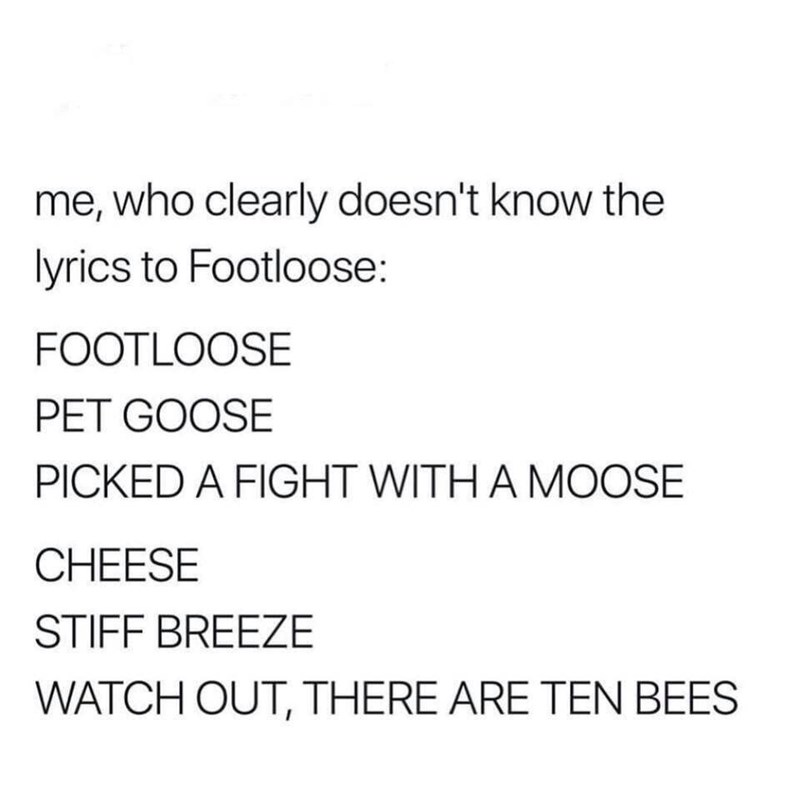text post about nobody knowing the lyrics about footloose