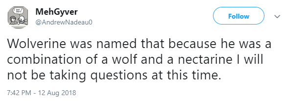 tweet post about how wolverines name is the combination of wolf and nectarine by: @AndrewNadeau0