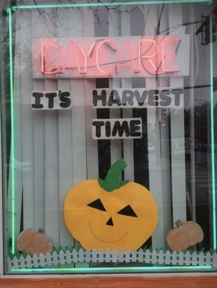 meme image about a daycare and it being harvest time during Halloween