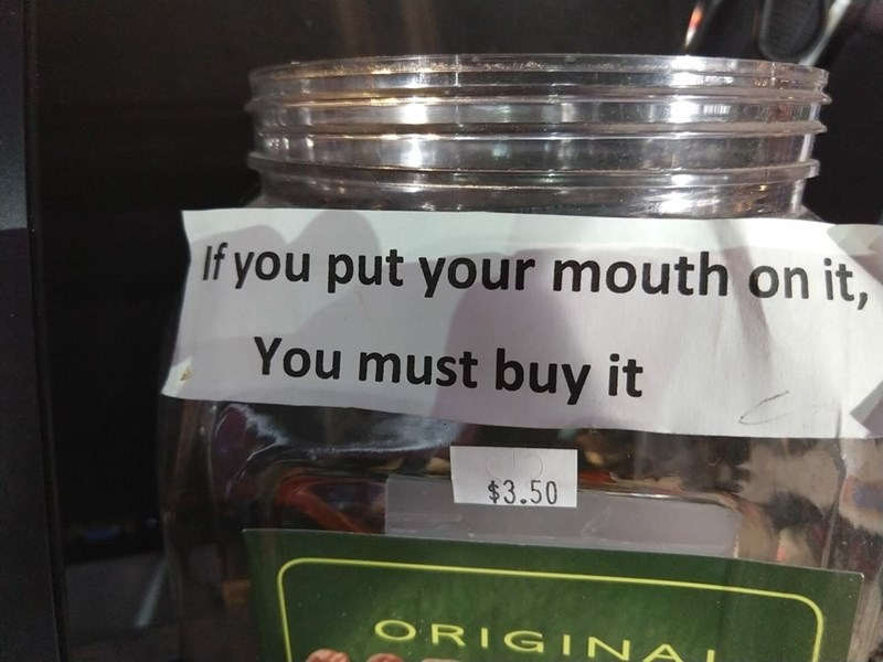 meme image about putting your mouth on it and buying it