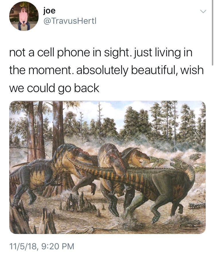 nostalgic not a cell phone in sight meme about the dinosaurs and how they just lived in the moment by: @TravusHertl