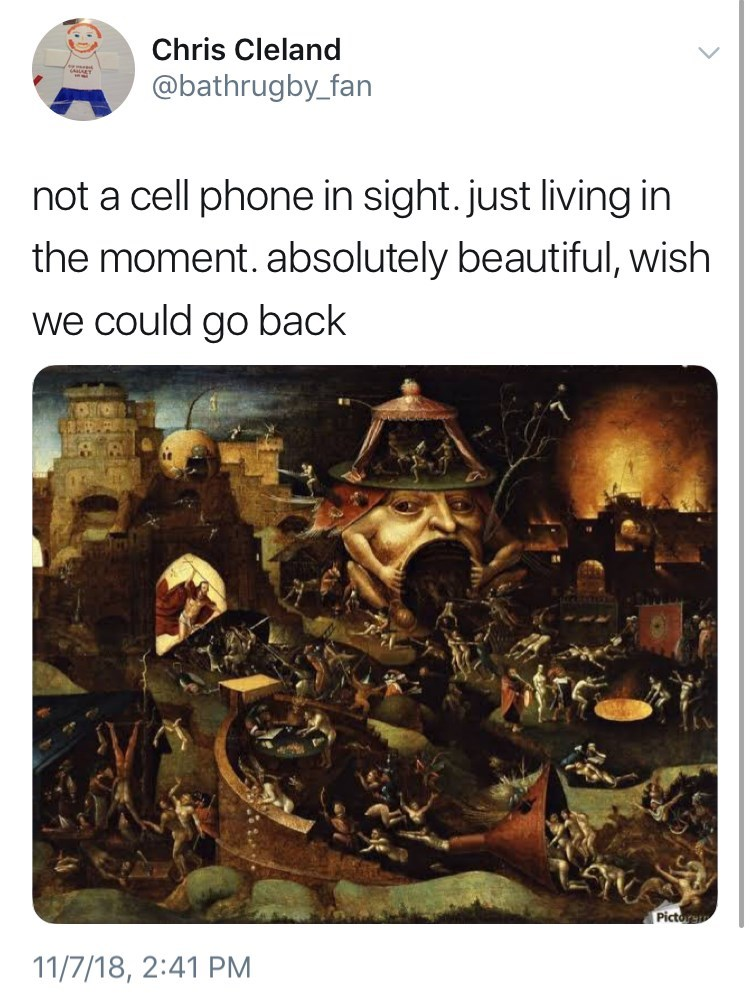 not a cell phone in sight meme about the plague by: @bathrugby_fan