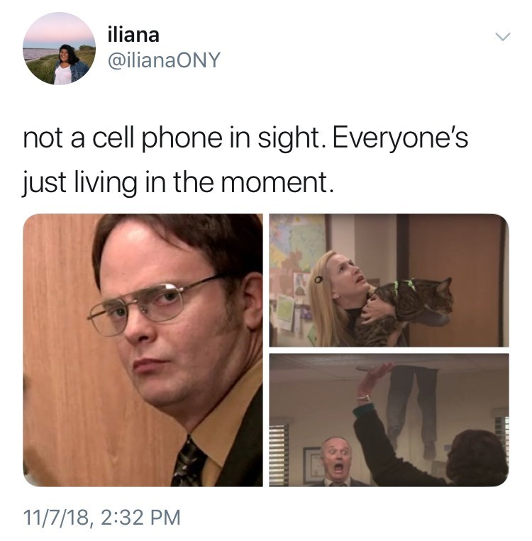 not a cell phone in sight meme about the office episode fire drill by: @ilianaONY