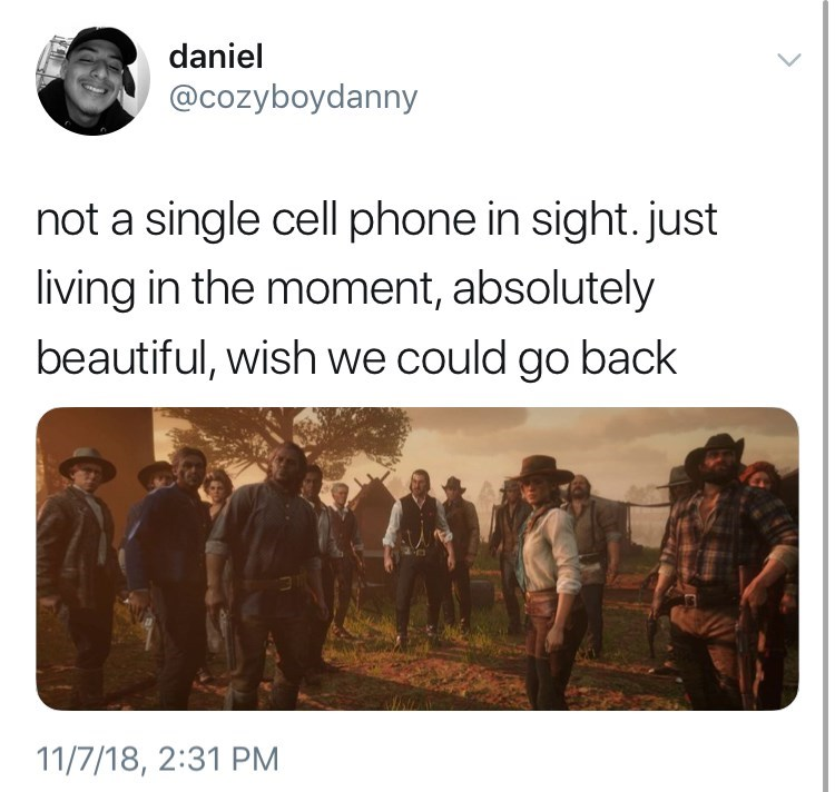 nostalgic not a cell phone in sight meme about the wild west by: @cozyboydanny