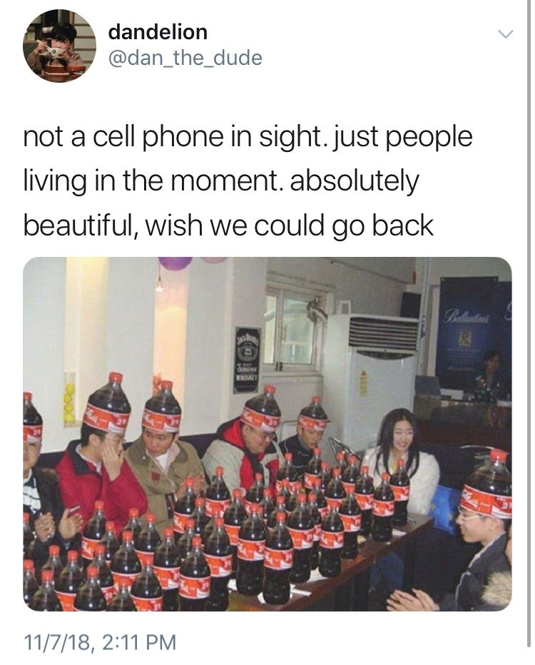 not a cell phone in sight meme about wearing coke bottle as a hat and being a coke head. by: @dan_the_dude
