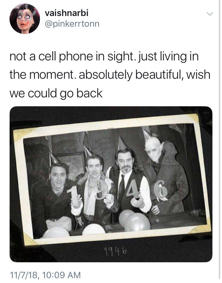 not a cell phone in sight meme in 1946 new years party by: @pinkerrtonn