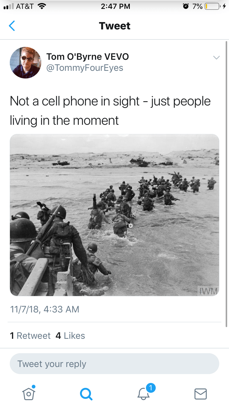 not a cell phone in sight meme about the world wars by:@TommyFourEyes