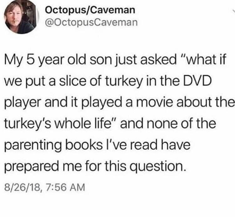 "Tweet that reads, ""My five-year-old son just asked, 'What if we put a slice of turkey in the DVD player and it played a movie about the turkey's whole life?' and none of the parenting books I've read have prepared me for this question"""