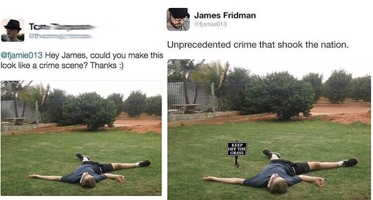 """Pic showing a guy lying on the the grass next to a photoshopped pic of him in the grass with a sign that reads, """"Keep off the grass"""""""