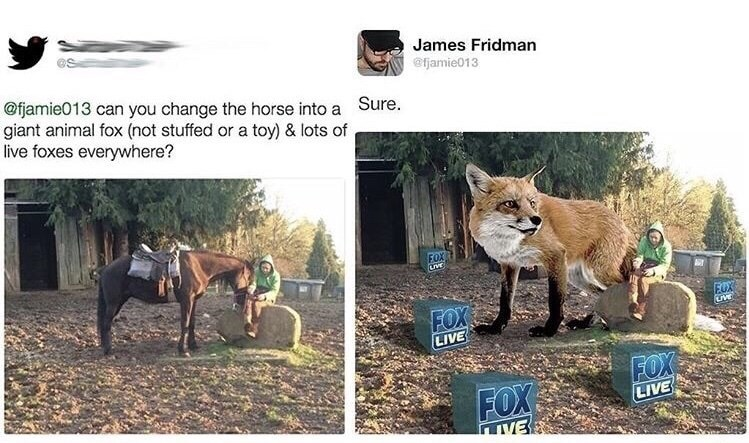 Wildlife - James Fridman @fjamie013 @fjamie013 can you change the horse into a Sure. giant animal fox (not stuffed or a toy) & lots of live foxes everywhere? FOX FUX FOX LIVE FOX LIVE FOX