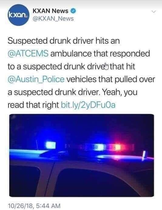 News report about a series of unfortunate events fueled by alcohol