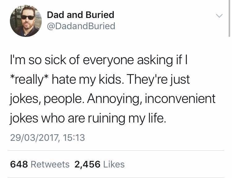 Tweet by dad who calls his kids jokes