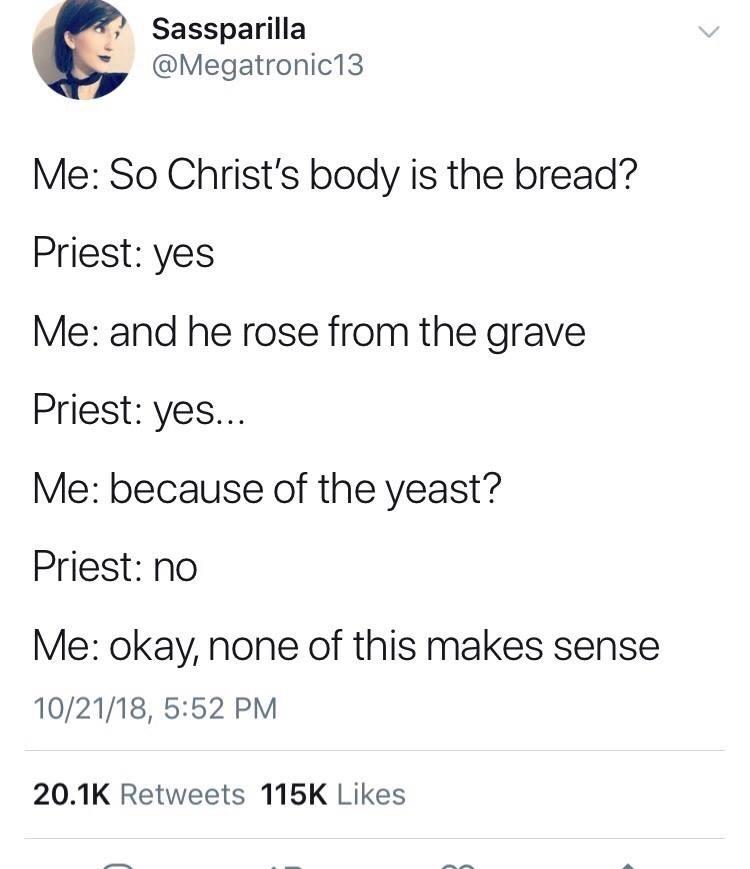 Tweet trying to make sense of Christianity