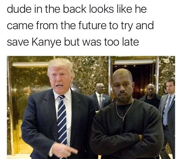 Black man looking disappointed in the background of a photo of Kanye West and Donald Trump