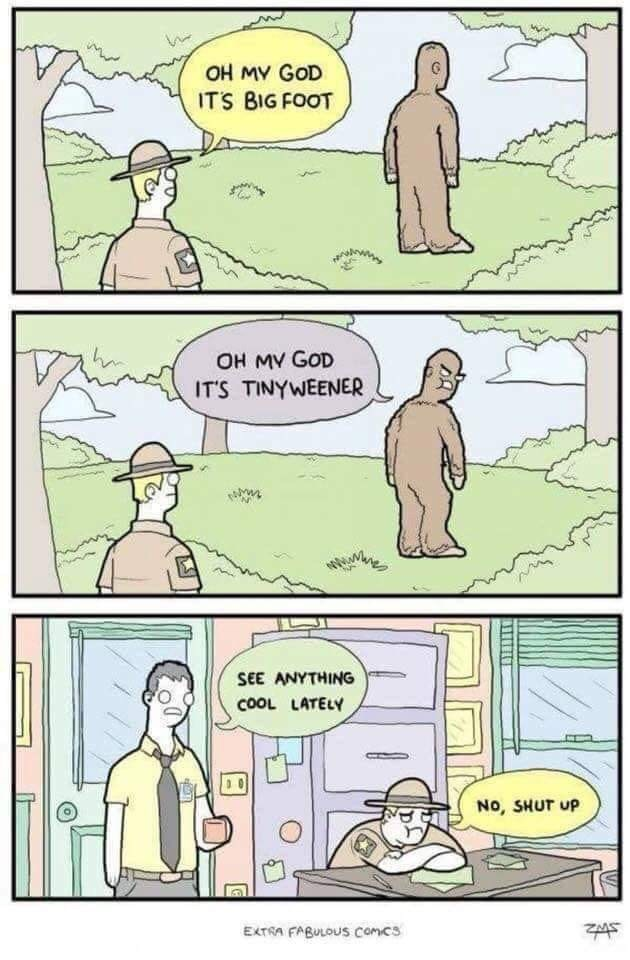 Comic of forest ranger getting insulted by Big Foot