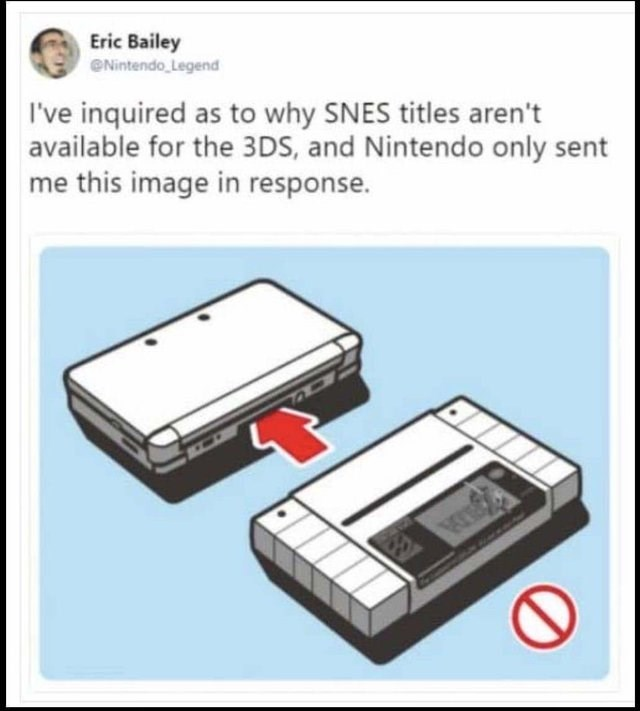 Technology - Eric Bailey Nintendo Legend I've inquired as to why SNES titles aren't available for the 3DS, and Nintendo only sent me this image in response.