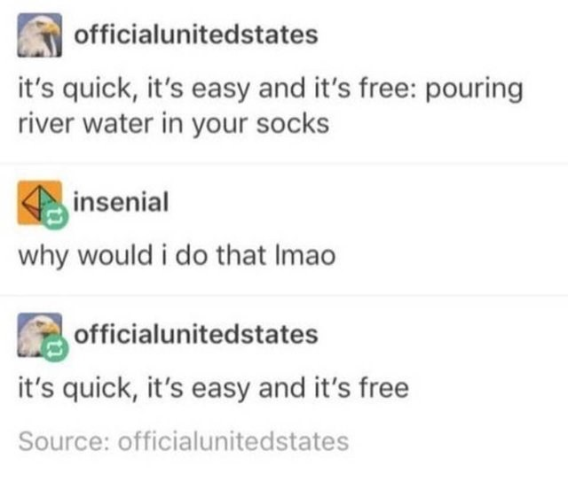 Text - officialunitedstates it's quick, it's easy and it's free: pouring river water in your socks insenial why would i do that Imao officialunitedstates it's quick, it's easy and it's free Source: officialunitedstates