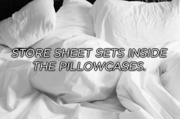 White - STORE SHEET SETS INSIDE THE PILLOWCASES.