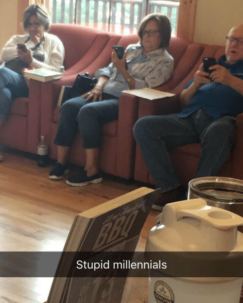 """meme about old people using cell phones and calling the """"millennials"""""""