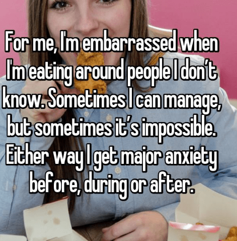 confession post about not being able to eat around new people