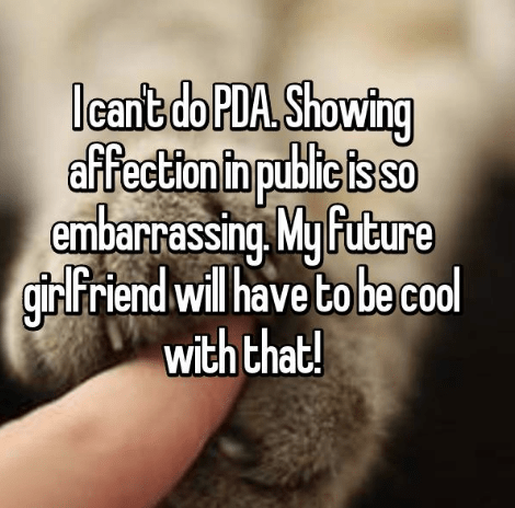 confession post about not being able to show PDA