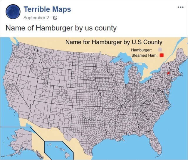 """map meme referencing Simpsons joke about natives to Albany, New York using the phrase """"steamed ham"""""""