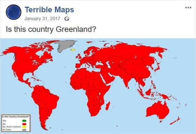 map meme about Iceland and Greenland often getting confused with each other