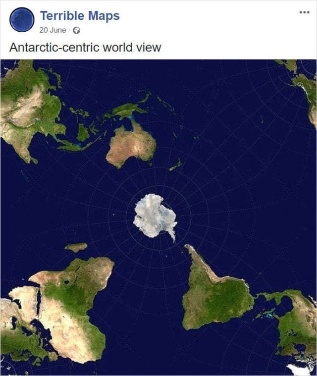 map meme with Antarctica in the center of the map