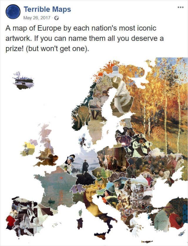 Illustration - Terrible Maps May 26, 2017 A map of Europe by each nation's most iconic artwork. If you can name them all you deserve a prize! (but won't get one)