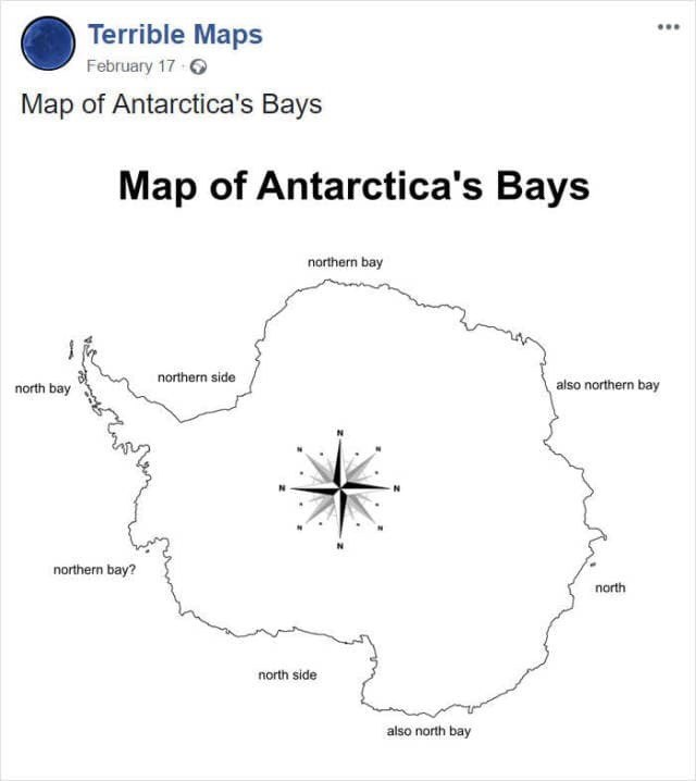 map meme about Antarctica being confusing to navigate in
