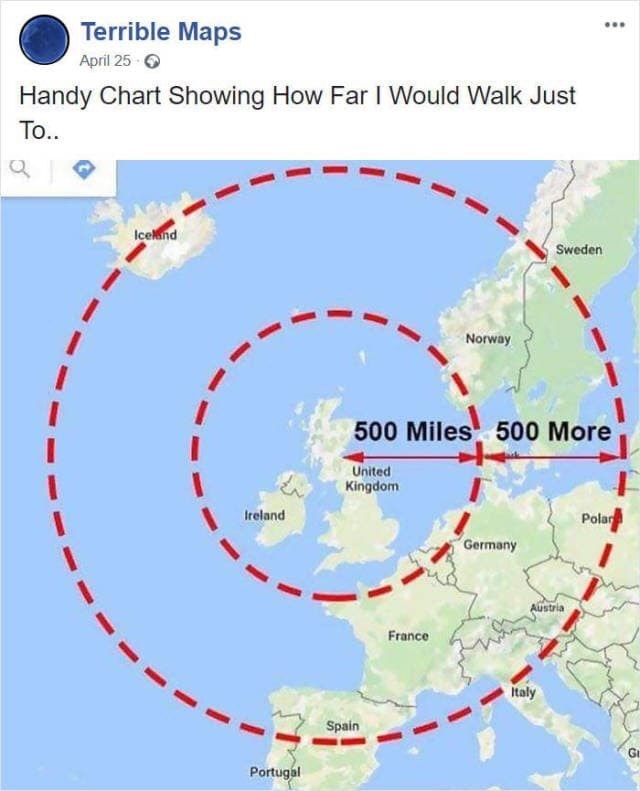 """map meme about the """"I'm gonna be (500 Miles)"""" song"""