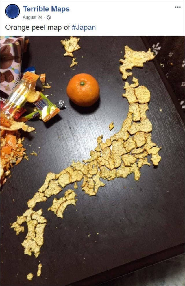 Still life photography - Terrible Maps August 24 Orange peel map of #Japan