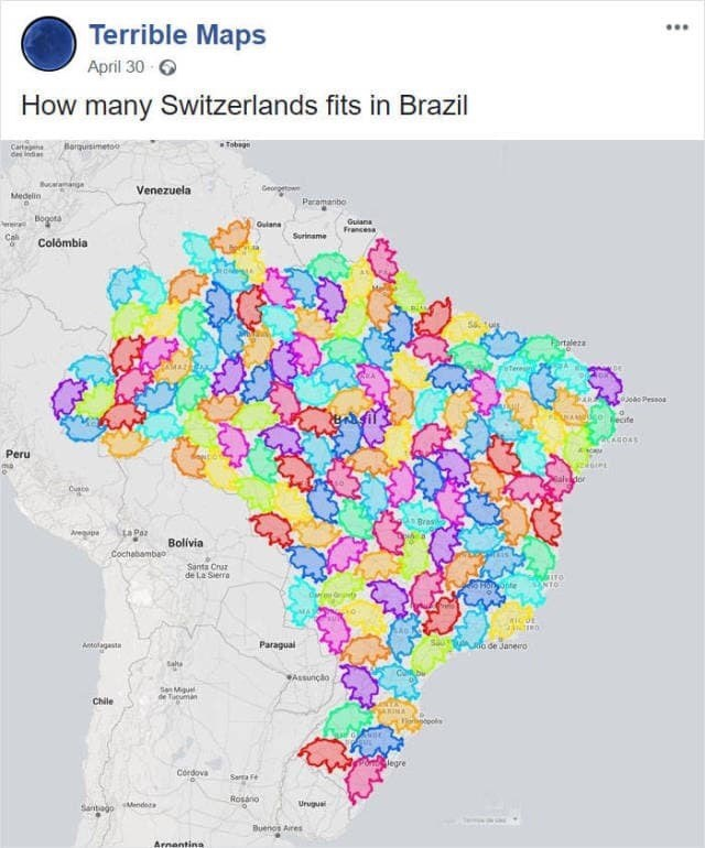 meme about how many Switzerland people fit into Brazil