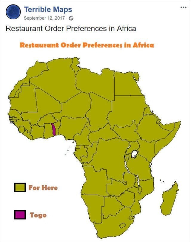 """meme about restaurant order prefernces """"for here"""" and """"togo"""" in Africa"""