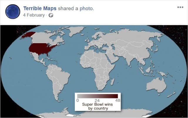 meme image of world map and the super bowl wins by country where only the USA is highlighted