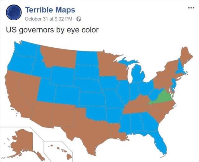 meme image of US map based on governor's eye color