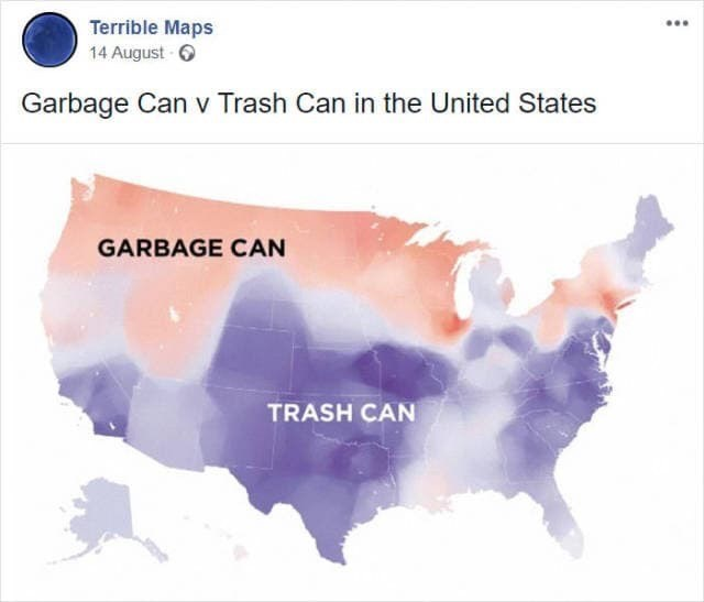 meme image of US map and where they refer to garbage versus trash can