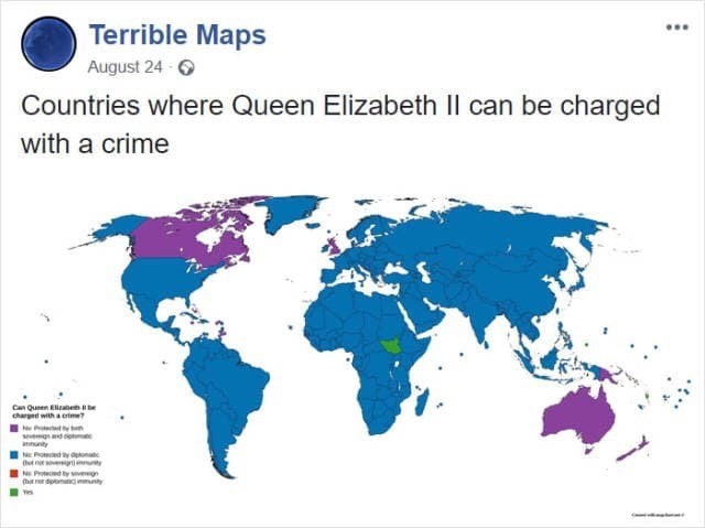 meme image of the countries where queen Elizabeth can be charged with a crime