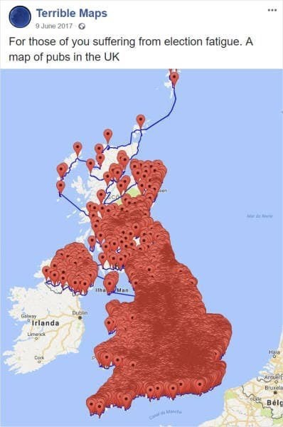 meme image of UK map and the amount of pubs that are there