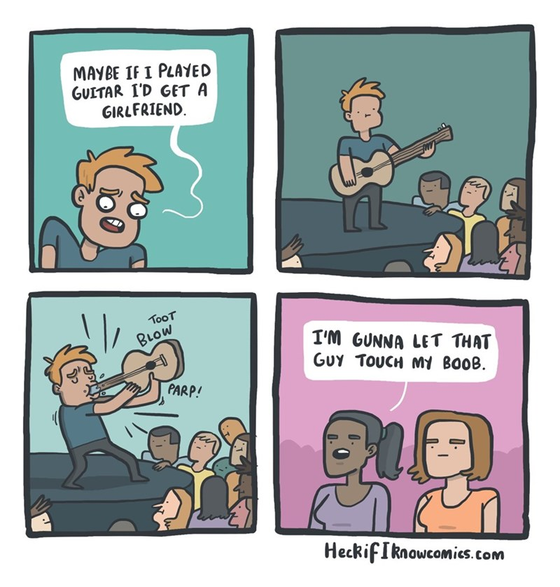 comic about men playing guitars are able to get women