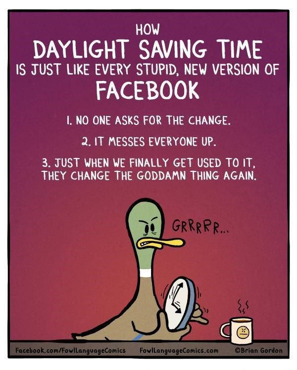 comic about comparing daylight savings time to the new version of facebook